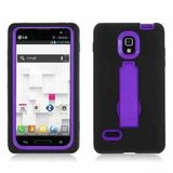 Double Layer Kickstand Hard Hybrid Gel Case Cover for Lg Optimus L9 P769 - in Orland Park, Illinois